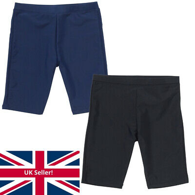 H20 Boys School Sports Swim Jammers Long Shorts Black Navy Plain Colour 7-13yrs