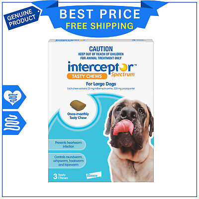 INTERCEPTOR Spectrum for Dogs 22 to 45 Kg BLUE Pack 3 Chews Heartworm Prevention