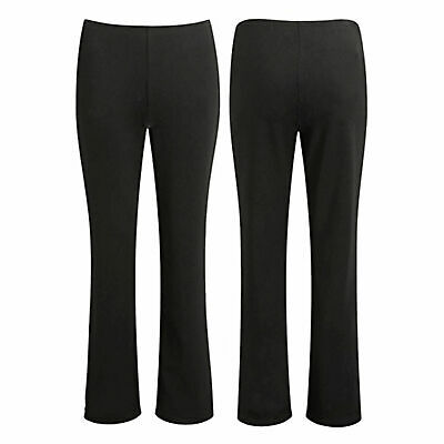 Ladies Stretch Bootleg Trousers Ribbed Women Bootcut Elasticated Waist Pack of 2