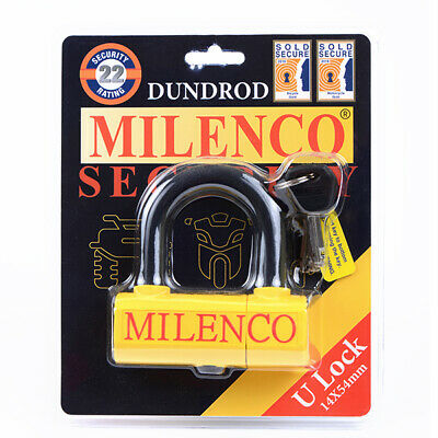 New Milenco Dundrod U Lock 14X54 Security Motorbike Bike Cycle Sold Secure Gold