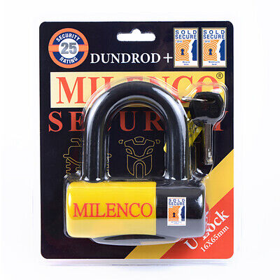 New Milenco Dundrod + Ulock 16X65 Security Motorbike Bike Cycle Sold Secure Gold