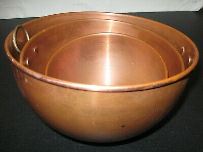 Vintage Solid Copper Bowls Nest of Three By O. D. I. Korea Brass Rings Patina