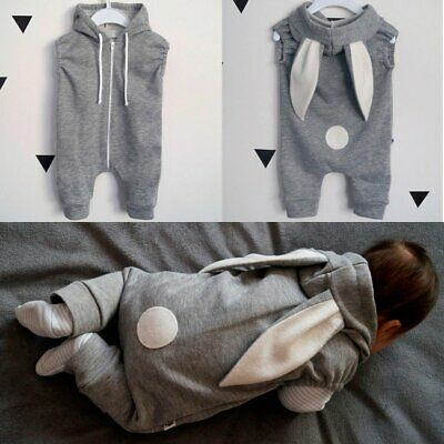 Bunny Rabbit Ear Hooded Romper Bodysuit Clothes Outfit for Toddler Baby Girl Boy
