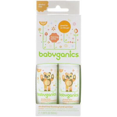 Babyganics Alcohol Free Foaming Hand Sanitizer On The Go 2 Pack, Exp. 01/2019