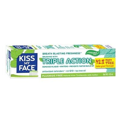 Kiss My Face Aloe Triple Action Toothpaste With Xylitol Fluoride Free - 4.5 Oz.
