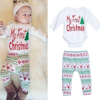 4pcs Baby Boy Girl Christmas Outfit Romper Pants Leggings Hat Clothes Set #JD