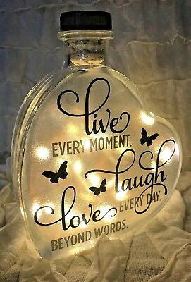 "LED 6"" Glass Light Up Heart Bottle Personalised LIVE LAUGH LOVE Lamp Gift Vase"