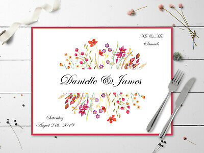 10 Personalised Wildflower Disposable Table Place Mats - Any Occasion