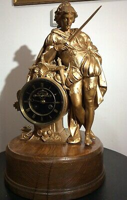 X-LARGE Figural chiming mantle clock, with visible escarpment by S MARTI