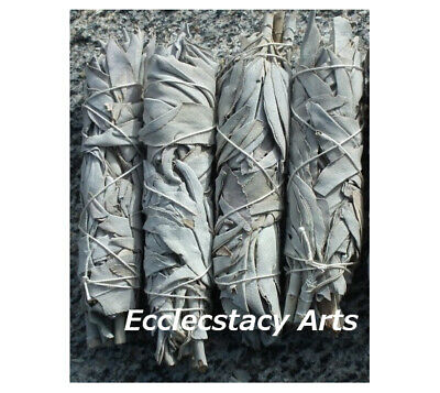 """4 White Sage Smudge Stick / Wands: House Negativity Removal 4 to 5 """"-California"""