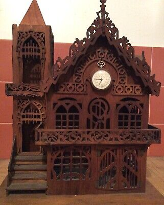 Very rare large Austrian Black Forest style Church form pocket watch stand