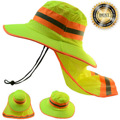 2X Hi Visibility Reflective Safety Neck Flap Boonie Hat Neon Green Bucket Cap