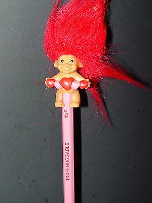 """Troll Doll 1 1/2"""" Russ Pencil Top Topper Valentine's / Mother's Day w/ pencil"""