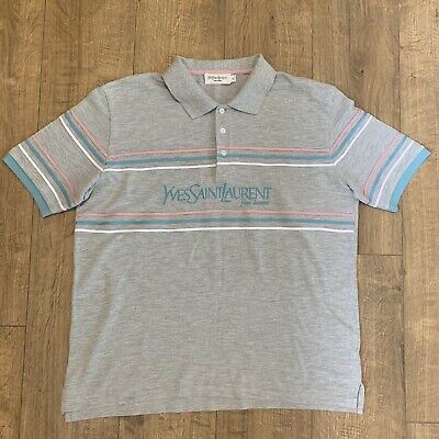 bc1db371352 Vintage Men's Yves Saint Laurent YSL Polo T Shirt XL Grey Blue Pink Pour  Homme