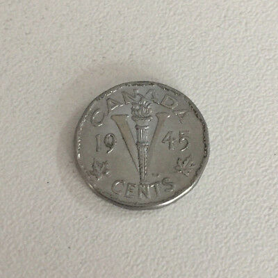 1945 Canadian Canada Victory nickel five 5 cents King George V