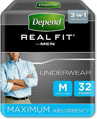 Depend Active Fit Protect Incontinence Underwear for Men Size Medium 32 Pants