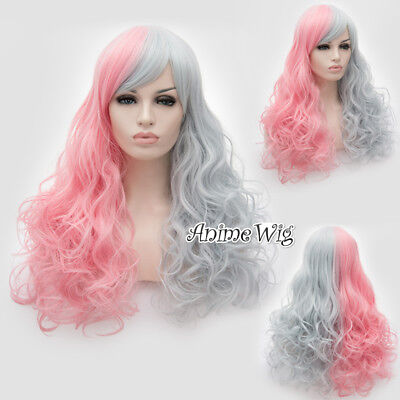 HOT SALE Lolita Women's Fashion 60cm Long Pink Mixed Gray Curly Cosplay Wig