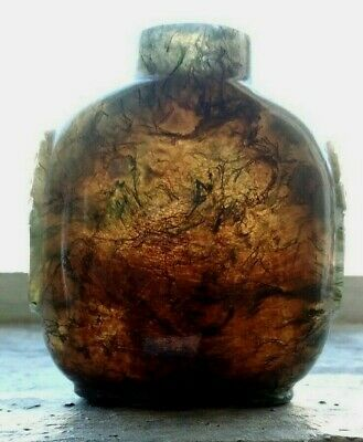 Chinese Moss Agate Snuff Bottle With Dragon Masks.  No Stopper