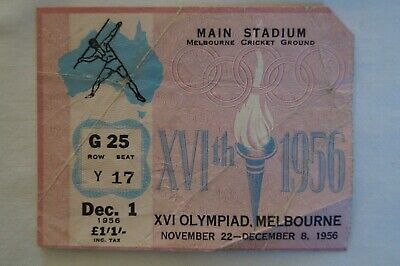 Olympic Games Collectable 1956 Melbourne Vintage Main Stadium Athletics Ticket