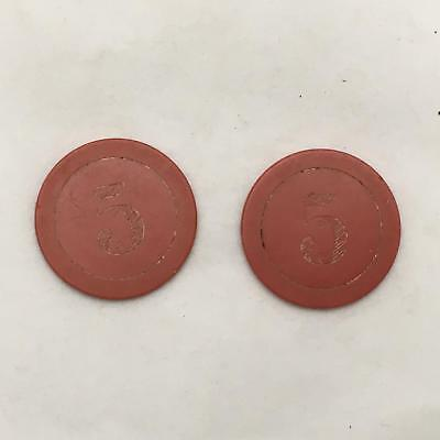 Lot of 2 Antique RED $5 Clay Poker / Casino Chips or Tokens Incised 5  GAMBLING