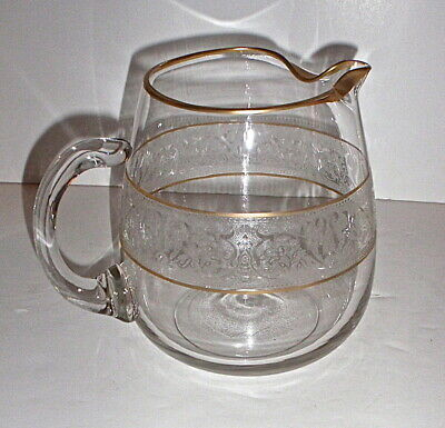 Lenox Noblesse Etched Crystal and Gold Water Pitcher, RARE!