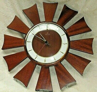 Junghans STARBURST Electronic WALL CLOCK Germany WORKS WELL '60's w/ Battery