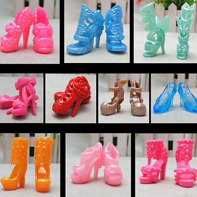 BG_ 10 Pairs Different High Heel Shoes Boots For Barbie Doll Dresses Clothes Gif