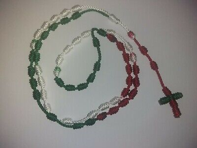 Religious Knotted Rosary Handmade with Nylon Cord - Color Green, White & Red