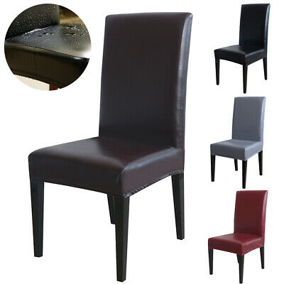 PU Leather Dining Chair Covers Waterproof Spandex Slipcovers Seat Covers 1-8PCS