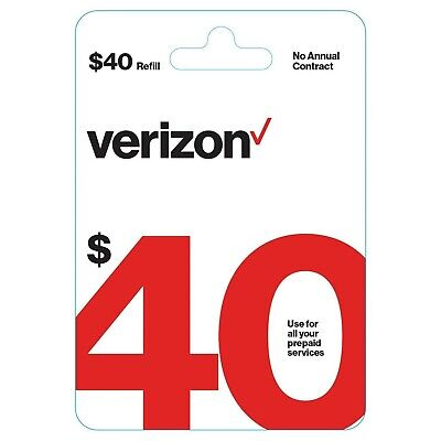 Brand New $40 Verizon Wireless Prepaid Refill Top up PIN Card (Mail Delivery)