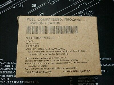 USGI Trioxane Fuel, Compressed Box with 3 Bars, new old stock