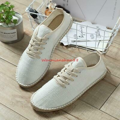 Mens Breathable Slip On Loafers Lace up Canvas Hemp Wrap Casual Fisherman Shoes