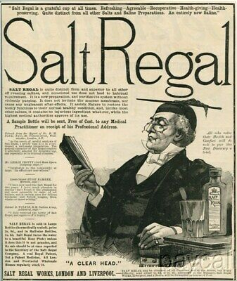 1889 Ad Engraving Salt Regal Purgative Body Purifier Remedy