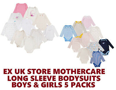 Baby Boys Girls 5 Pack Bodysuits Ex Uk Store Cotton 0-36M Long Sleeve Vests New