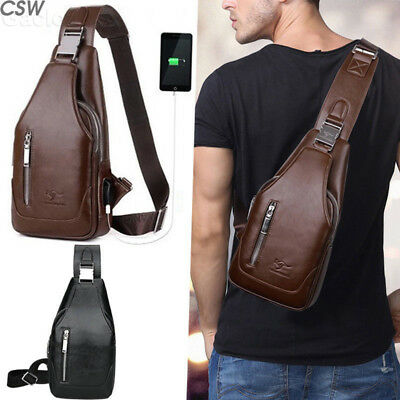 Mens Chest Shoulder Backpack Sling Cross Body Man Leather Satchel Travel Bag US