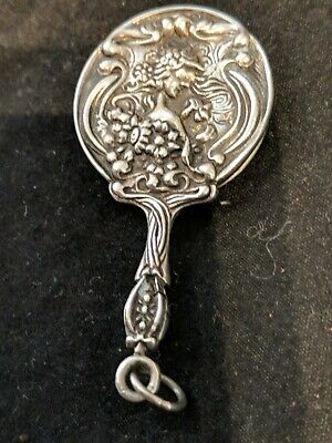 ANTIQUE Miniature/ Small Art nouveau Sterling Silver Mirror Fob