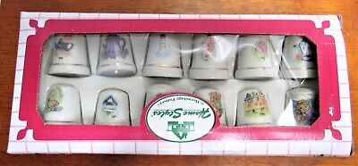 Set Of Porcelain Thimbles 12 New In Box