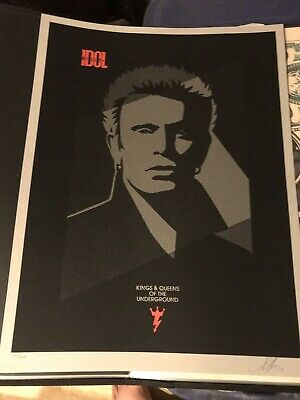 SHEPARD FAIREY Signed ART PRINT Billy Idol Queens Of The Underground REDUCED!!!