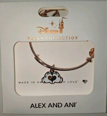 Disney Parks Alex and Ani Pride Rainbow Glove Hands Charm Bracelet Rose Gold New