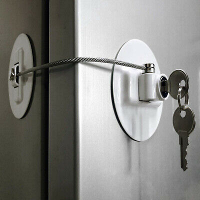 Window Refrigerator Safety Lock with Stainless Steel Key Cylinder For Kids CB
