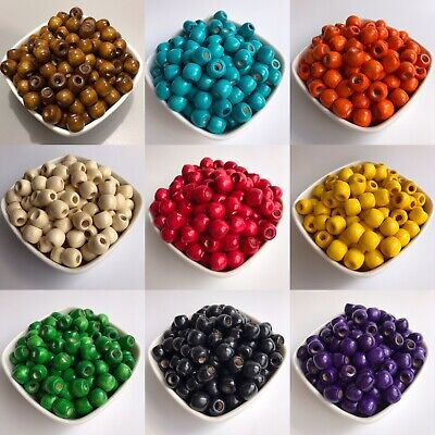 50X Macrame Wood Beads 12x11mm Multiple Colours 5mm Hole Wooden Dreadlock Bead