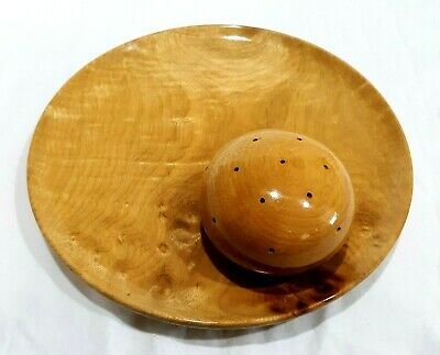 Fantastic Mid Century Modern Mcm Myrtlewood Cheese Plate With Toothpick Holder