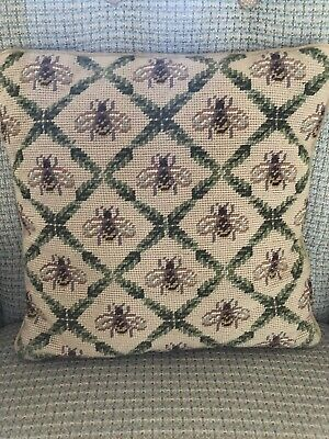 Vintage Pillow Needlepoint Completed Bubble Bee Finished Tapestry