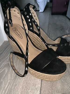 Black Size 4 Wedges With Wrap Around Studded Ankle Strap