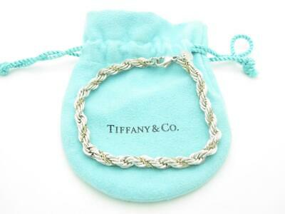 """Tiffany & Co. Sterling Silver & 18k Yellow Gold 5mm Rope Chain Bracelet 7"""""""