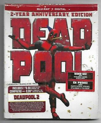 Sealed New - BLU-RAY + DIGITAL - DEADPOOL 2 Year Anniversary - Also In French