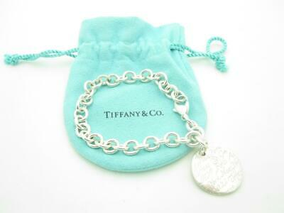 """Tiffany & Co. Sterling Silver Notes Round Tag Chain Link Bracelet 7.5"""" Pouch"""