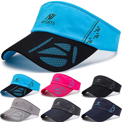 Visor Sun Plain Hat Sports Sunscreen Cap Golf Tennis Beach Adjustable Men Women