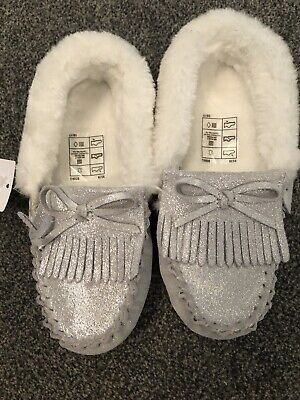M&S Girls Silver Moccasin Suede Leather Slippers  BNWT Size 13