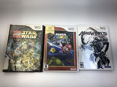 Nintendo Wii Game Lot Super Mario Galaxy, Mad World, Lego Star Wars *3 Games*